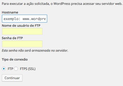 Wordpress Pedindo credenciais FTP